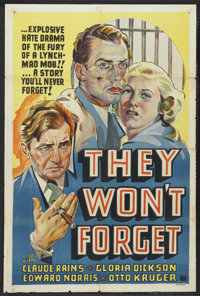 "They Won't Forget (Warner Brothers, 1937). One Sheet (27"" X 41"") Other Company. Mystery. Starring Claude Rains..."