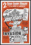 "Movie Posters:Science Fiction, 1000 Years From Now/Invasion USA Combo (American Picture Company, R-1956). One Sheet (27"" X 41""). Science Fiction. Starring ..."