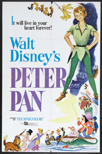 """Peter Pan (RKO, R-1969). One Sheet (27"""" X 41""""). Animated Adventure. Starring the voices of Bobby Driscoll, Kat..."""