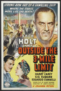"Movie Posters:Adventure, Outside the 3-Mile Limit (Columbia, 1940). One Sheet (27"" X 41"").Crime. Starring Jack Holt, Harry Carey, Sig Rumann, Eduard..."