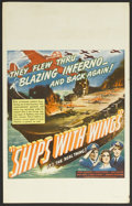"Movie Posters:War, Ships with Wings (United Artists, 1942). Window Card (14"" X 22"").War. Starring John Clements, Leslie Banks, Jane Baxter, An..."