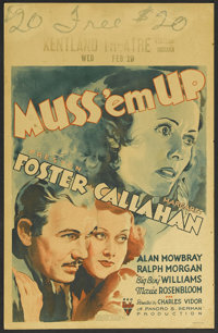 "Muss 'em Up (RKO, 1936). Window Card (14"" X 22""). Mystery. Starring Preston S. Foster, Margaret Callahan, Alan..."