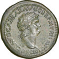 Ancients: Nero, as Augustus (AD 54-68). AE sestertius (37mm, 25.51 gm, 6h). NGC Choice XF★ 5/5 - 4/5, Fine Style