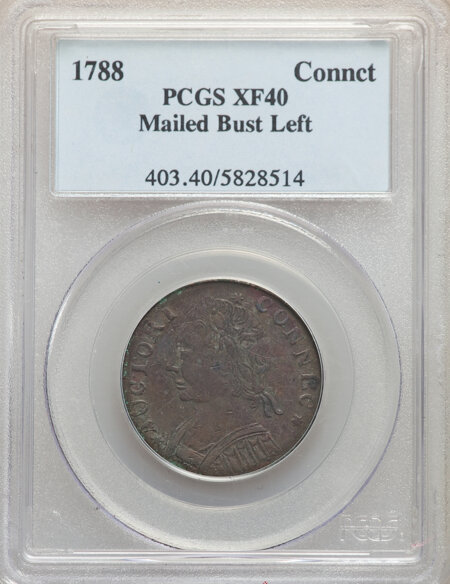 1788 Connecticut Copper, Mailed Bust Left, MS, BN 40 PCGS