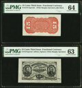 Fr. 1274SP/1273-75 15¢ Third Issue Wide Margin Pair PMG Choice Uncirculated 64 and 63