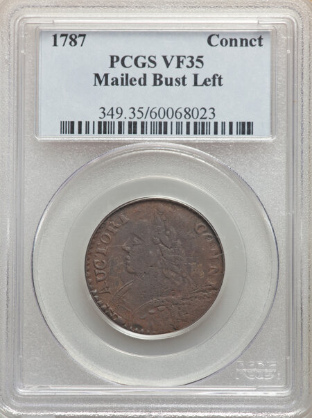 1787 Connecticut Copper, Mailed Bust Left, MS, BN 35 PCGS