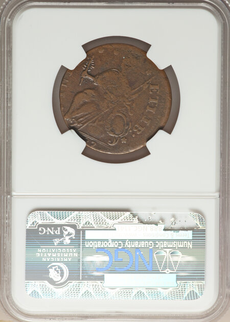1787 Connecticut Copper, Draped Bust Left, ETIIB, MS, BN 30 NGC