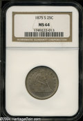 Seated Quarters: , 1875-S 25C MS64 NGC. Briggs 1-A. Type One Reverse. Lilac ...
