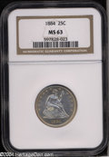 Seated Quarters: , 1884 25C MS63 NGC. A splendidly struck piece with lovely ...