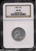 Seated Quarters: , 1885 25C AU58 NGC. Well struck save for softness on the ...
