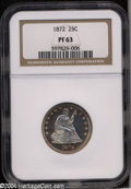 Proof Seated Quarters: , 1872 25C PR63 NGC. Fully struck with uneven, multicolored ...
