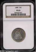 Proof Seated Quarters: , 1886 25C PR63 NGC. Deep violet toning adorns the reverse ...