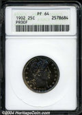 Proof Barber Quarters: , 1902 25C PR64 ANACS. Richly toned with gold, red, and ...
