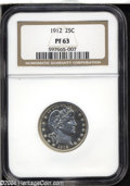 Proof Barber Quarters: , 1912 25C PR63 NGC. Untoned with bright intensity and ...