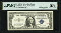 Error Notes:Ink Smears, Green Ink Smear on Back Error Fr. 1620 $1 1957A Silver Certificate. PMG About Uncirculated 55.. ...