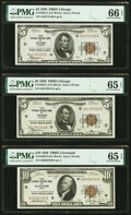 Small Size:Federal Reserve Bank Notes, $5-$50 1929 FRBNs PMG Graded.. Fr. 1850-G $5 (2) Gem Uncirculated 66 EPQ; Gem Uncirculated 65 EPQ;. Fr. 1860-D $10 Gem... (Total: 5 notes)