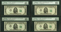 Small Size:Federal Reserve Notes, Fr. 1964-C*; D*; G*; K* $5 1950C Federal Reserve Notes. PMG Graded.. ... (Total: 4 notes)