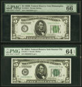 Fr. 1951-J $5 1928A Federal Reserve Note. PMG Choice Uncirculated 64 EPQ; Fr. 1952-C $5 1928B Federal Reserve Note. PMG...