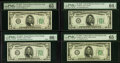 Small Size:Federal Reserve Notes, Fr. 1959-B; G; H; J $5 1934C Wide I Federal Reserve Notes. PMG Graded.. ... (Total: 4 notes)