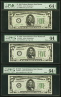 Small Size:Federal Reserve Notes, Fr. 1956-A; E; G; H; J $5 1934 Mule Federal Reserve Notes. PMG Graded. ... (Total: 5 notes)