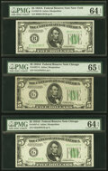 Small Size:Federal Reserve Notes, Fr. 1957-B; G (3); L (2) $5 1934A Federal Reserve Note. PMG Graded.. ... (Total: 6 notes)