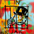 Paintings, Alec Monopoly (b. 1986). In Jail, early 21st century. Acrylic, spray paint, and collage on canvas with resin. 19-1/2 x 1...
