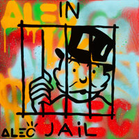 Alec Monopoly (b. 1986) In Jail, early 21st century Acrylic, spray paint, and collage on canvas with