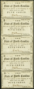 Raleigh, NC- State of North Carolina Uncut Strip of Five 5¢ Oct. 1, 1861 Cr. 48 Extremely Fine-About Uncirculated...