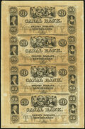 Obsoletes By State:Louisiana, New Orleans, LA- New Orleans Canal & Banking Company $20-$20-$20-$20 18__ X7 Uncut Sheet Crisp Uncirculated.. ...
