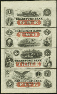 Searsport, ME- Searsport Bank $1-$2-$3-$5 18__ X1 Uncut Sheet Choice About Uncirculated