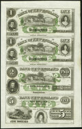 Obsoletes By State:Connecticut, East Haddam, CT- Bank of New England at Goodspeed's Landing $1-$1-$2-$3 18__ X7 Uncut Sheet About Uncirculated.. ...