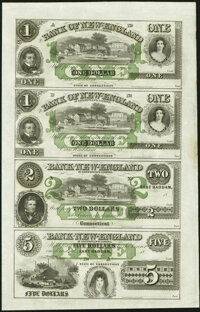 East Haddam, CT- Bank of New England at Goodspeed's Landing $1-$1-$2-$3 18__ X7 Uncut Sheet About Uncirculated