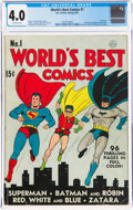 Golden Age (1938-1955):Superhero, World's Best Comics #1 (DC, 1941) CGC VG 4.0 Off-white pages....
