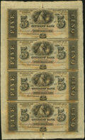 New Orleans, LA- Citizens' Bank of Louisiana $5-$5-$5-$5 18__ X2 Uncut Sheet Choice About Uncirculated