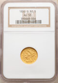 Liberty Quarter Eagles: , 1850-O $2 1/2 AU55 NGC. Variety 3. A frosty yellow-gold example with almost no mentionable wear. The softness of the ce...