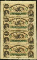 Obsoletes By State:Louisiana, New Orleans, LA- Citizens' Bank of Louisiana $100-$100-$100-$100 18__ X8 Uncut Sheet Choice Crisp Uncirculated.. ...