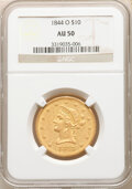 Liberty Eagles: , 1844-O $10 AU50 NGC. Variety 5. The mintmark is lightly repunched on this variety. The present coin displays satiny str...