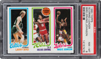 1980 Topps Larry Bird, Julius Erving, Magic Johnson PSA NM-MT 8