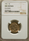 Buffalo Nickels: , 1921 5C -- Cleaned -- NGC Details. Unc. Mintage 10,663,000. ...