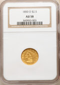 Liberty Quarter Eagles: , 1850-O $2 1/2 AU58 NGC. Variety 4. Lustrous olive-gold surfaces provide the eye appeal of a low-end Mint State coin, al...