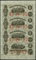 Newton, NJ- Sussex Bank $1-$1-$1-$2 18__ X1 Uncut Sheet Choice About Uncirculated