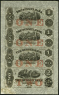 Obsoletes By State:New Jersey, Newton, NJ- Sussex Bank $1-$1-$1-$2 18__ X1 Uncut Sheet Choice About Uncirculated.. ...