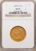 Liberty Eagles: , 1844-O $10 AU53 NGC. Variety 4. The mintmark is further right on this variety than on the other reverses of 1844. This ...