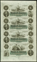 Obsoletes By State:Rhode Island, Providence, RI- Bank of America $1-$1-$1-$2 18__ X1 Uncut Sheet Choice Crisp Uncirculated.. ...
