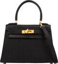 """Luxury Accessories:Bags, Hermès Vintage 20cm Black Lizard Sellier Kelly Bag with Gold Hardware. U Circle, 1991. Condition: 3. 7.5"""" Width x..."""