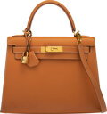 """Luxury Accessories:Bags, Hermès 28cm Natural Sable Tadelakt Leather Sellier Kelly Bag with Gold Hardware. D Square, 2000. Condition: 4. 11""""..."""