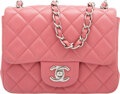 """Luxury Accessories:Bags, Chanel Pink Quilted Lambskin Leather Mini Square Flap Bag with Silver Hardware. Condition: 3. 6.5"""" Width x 5"""" Height x..."""