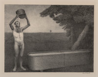 Grant Wood (American, 1891-1942) Sultry Night, 1939 Lithograph on paper 11-3/8 x 14-3/4 inches (2