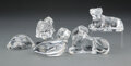 Glass, A Group of Five Baccarat Glass Figures of Animals, 20th century. Marks: BACCARAT, (goblet-decanter-cup), FRANCE. 3 x... (Total: 5 Items)