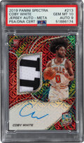 Basketball Cards:Singles (1980-Now), 2019 Panini Spectra Coby White Jersey Autograph (Meta) #213 PSA Gem Mint 10, Auto 9 - Serial Numbered 12/25....